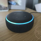 Image of the Amazon Echo Dot Gen 3, on my desk