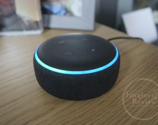 Image of the Amazon Echo Dot Gen 3, on my desk